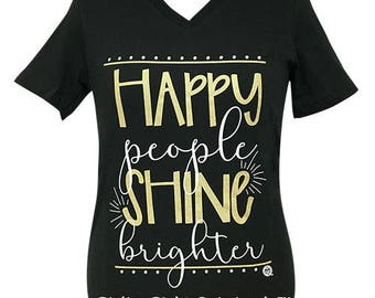 Girlie Girl Originals Happy People V-Neck Vintage Black Short Sleeve T-Shirt