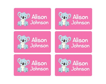 95ct Stick On Clothing Name Labels, Kids Clothing Labels, Personalized Uniform Name Labels - Baby Clothing Koala, Washable Labels
