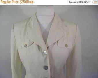 summer sale Vintage 90s jacket cream linen silk mix by St Bernard size medium