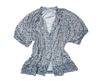 Vintage 70's Ditsy Blue Floral Poet Blouse