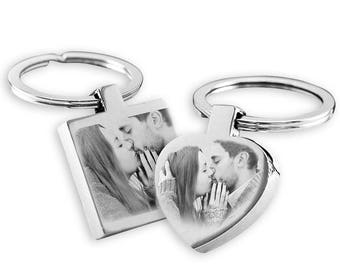 His and Hers Photo Engraved Keyrings set