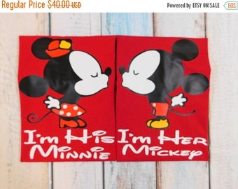 ON SALE I am his Minnie - I am her Mckey - Mickey and Minnie shirts - Disney couples shirts - Disney shirts- Couples shirts