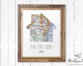 Our First Home Map Print, Custom Personalized Printable, DIGITAL FILE Wedding decor, Marriage, House Shaped