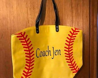 ON SALE Baseball bag - baseball purse - gift for coach - baseball tote bag - monogrammed bag - monogrammed baseball bag - custom beach bags