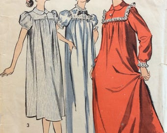 Advance 8488 misses nightgown in two lengths size 12 bust 32 vintage 1950's sewing pattern