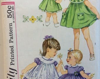 Simplicity 3807 girls' dress, pinafore & panties size 1 vintage 1960's sewing pattern