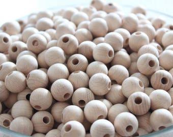 Set of 20 wooden beech beads 15mm raw