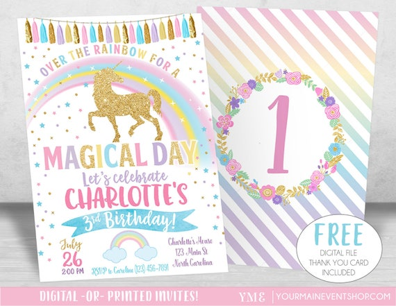 Unicorn Birthday Invitation, Unicorn Party, Rainbow Invitation, Rainbow Birthday Invite Printable, Unicorn Party Invite