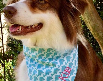 Personalized Whales Dog Bandana || Personalized Reversible Stripes Pet Scarf || Patriotic Puppy Gift by Three Spoiled Dogs