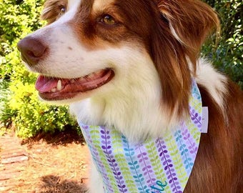 Summer Whales Dog Bandana || Personalized Reversible Stripes Pet Scarf || Patriotic Puppy Gift by Three Spoiled Dogs