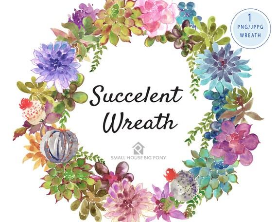 Digital Clipart- Watercolor Clipart, plant Clip art, wreath Clipart, cactus, succulent  clip art- Succulent Wreath