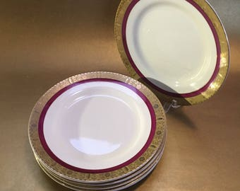 """Set of 4 Burleigh Ware Zenith Art Deco English Pottery Antique 6"""" Side Plates"""