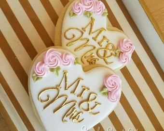 Mr. & Mrs. Wedding cookies/wedding/bridal shower/engagement
