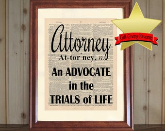 Attorney Dictionary Print, Law Office Decor, Lawyer Quote, Lawyer Print,  Attorney Quote