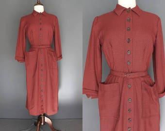 50's Day Dress     50's Red Plaid Button Up Shirtwaist Day Dress