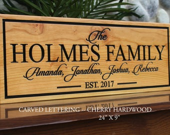 Last name established sign-last name sign-carved wood signs-wood carved signs-parents anniversary gift-family gift-5th anniversary gift