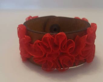 Cuff leather and lace Bracelets