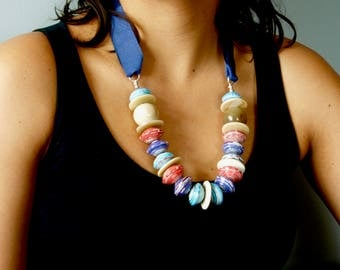 Multicoloured big bead necklace,African bead necklace,Ugandan paper beads,Mzuribeads,Ethical bead necklace,African fashion,Chunky necklace