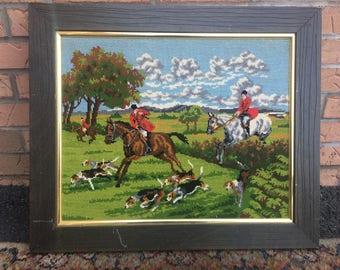 Vintage Needlepoint Framed Art Men Riding Horses Prairie Dogs