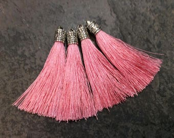 Light Pink Silk tassels with Antique Silver Filigree Caps Beautiful tassels for Jewelry Making Fall Color Tassels