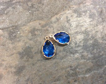 Zircon Blue Bezel Set Faceted Glass Charms Teardrop Shaped Faceted Pendant Charms  in Gold finish