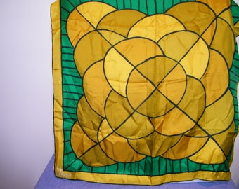 Vintage Vera Geometric Square Scarf Gold Green