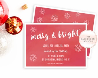 Christmas Party Invitation, Christmas Party, Holiday Party Invitation, Christmas Invites, Digital Invites, Printable Christmas Invite [535]