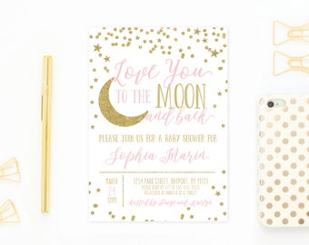 Baby Shower Invitation, Baby Shower, Baby Shower Invitations for Girls, Girl Baby Shower Invite, Star and Moon, Printable Invitations [741]