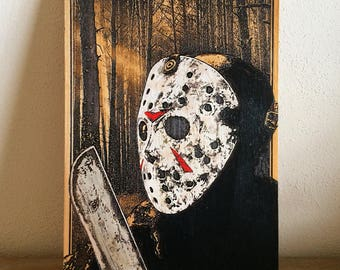 Friday the 13th Poster Jason Voorhees, Man Cave Horror Classics Killers, Horror Movie Poster, Movie Killer's Poster, Halloween, Maniac Masks