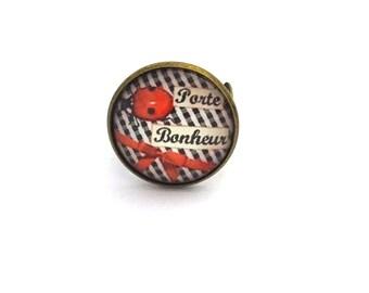 "Ring ""Luck, Ladybug"", bronze ring, black, white, red"