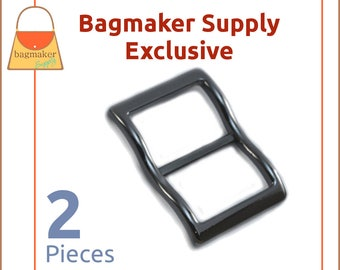1 Inch Large Mouth Curved Slide Buckles for Thick Straps, Gun Metal, 2 Pack, Great For Leather, Purse Handbag Hardware, BKS-AA123