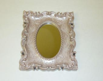 Vintage Ornate Mirror Painted Pink Champagne Upcycled Recycled Resin Square Frame Oval Mirror Nursery Girls Room Decor