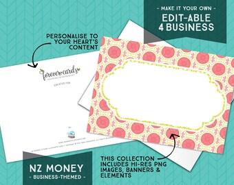 Editable for Business   NZ Money Theme   Feminine   Entrepreneur   Finance    Forever Cards   Single Use License included   Instant Download