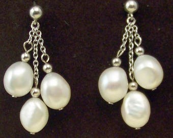Antique Pair of 3 Freshwater Pearl Dangle Earrings in Sterling Silver
