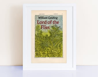 Lord of the Flies by William Golding Print on an antique page, book cover art, bookish gifts