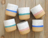 Handmade Ceramic Speckled Stoneware Striped Cups