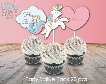 Rainbow Unicorn Party Printable Value Pack in Pink, Blue & Yellow, Instant Download