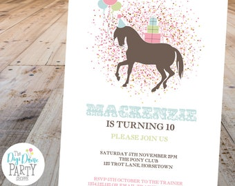 Pony/Horse Printable Party Invitation, 5x7in - Pink, Blue, Green, Brown and White - Double-Sided - Instant Download - Girls Birthday Party
