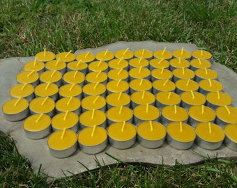 100% Beeswax Tealight Candles - 60 Tealights - Free Ship - Aluminum Cups