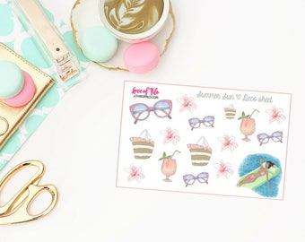 Summer Sun Deco | Life Planner Stickers