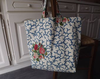 Handmade/flowers/yellow reversible fabric tote bag with pockets