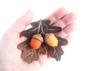 Wool Felt Brooch Acorns, Brooch Autumn Leaves and Acorns, Needle Felted Brooch, The Ecological Brooch,  Natural Jewelry, Original Gift