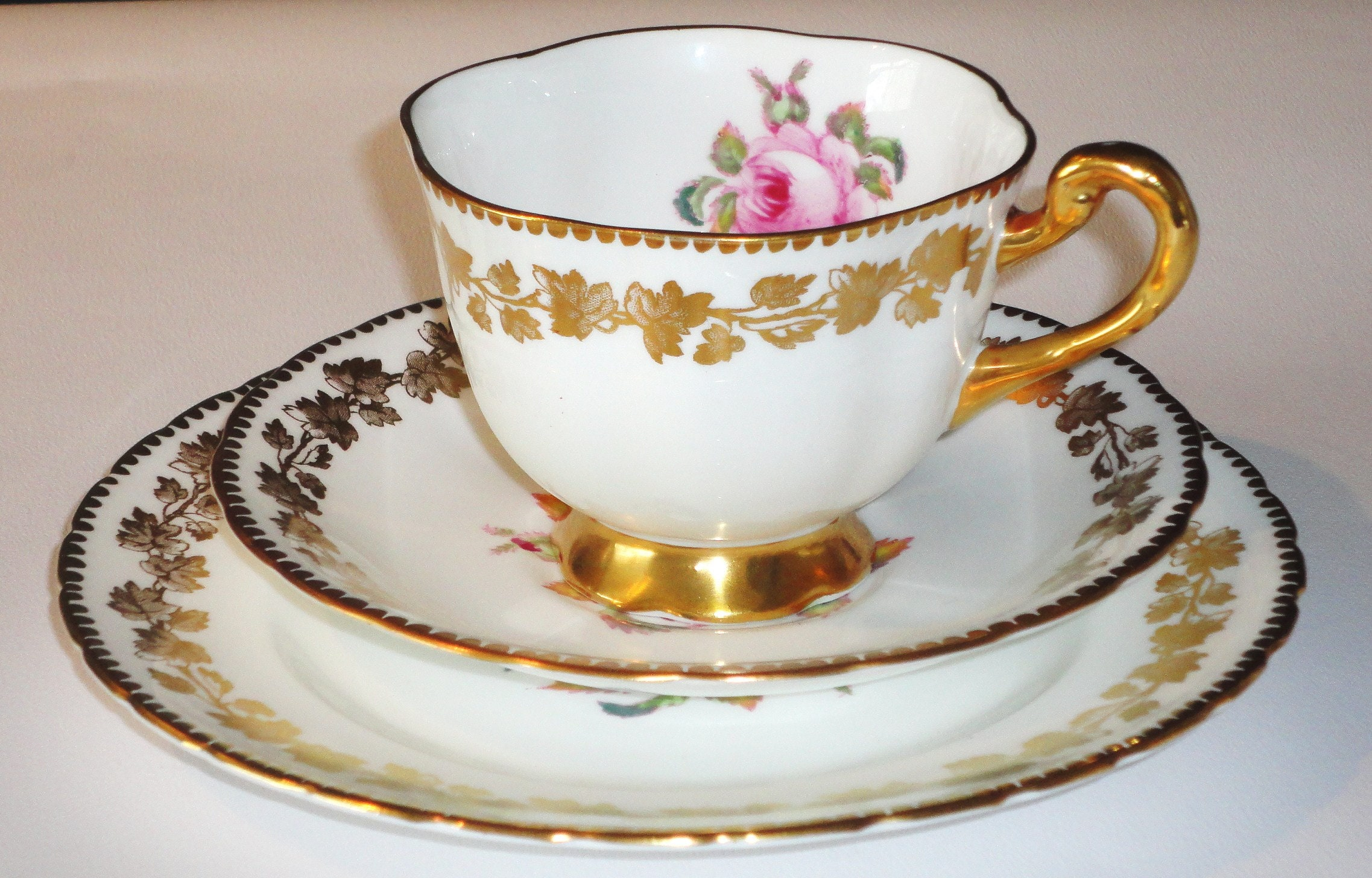 White Pink Rose China Tea cup Saucer Tea Plate Trio English vintage high tea party crockery & White Pink Rose China Tea cup Saucer Tea Plate Trio English vintage ...
