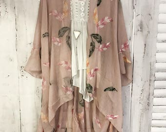 Stitches & Stone Kimono - B L U S H Boho Kimono Beach Cover Up, Long  Robe, Summer Kimono, Bohemian Print Kimono, Boho Fashion