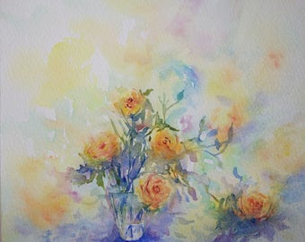 floral watercolor: bouquet of yellow roses