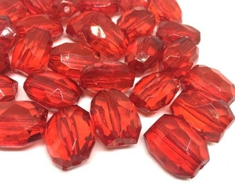 Chunky red gem style beads, 22mm ruby red acrylic beads, red jewelry, red necklace, chunky red beads, chubjy red statement necklace