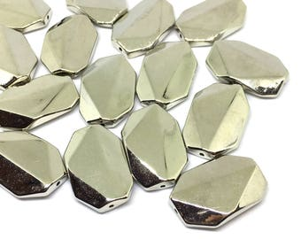 Bright mirror silver 33mm acrylic beads, silver beads, big silver beads, silver geometric chunky craft supplies wire bangle, jewelry