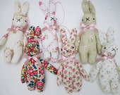 floral bunnies. bunny toy. rabbit toy. baby bunny. vintage floral bunny. baby present. baby gift, Easter bunny .