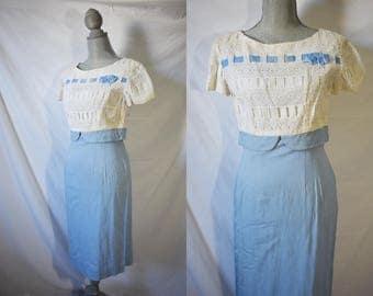 Vintage 60s Light Blue Cocktail Dress Short Sleeved Sheath Dress Evening Mid Length Wiggle Dress Rockabilly Party Dress Mad Men Day Dress