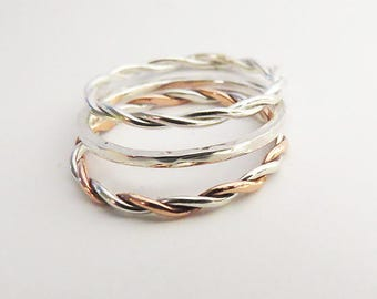 Set of 3 Mixed Stacking Rings • 925 Sterling Silver Rings • Copper Stacking Rings • Hammered Ring • Rope Twist Ring • Mixed Rope Ring